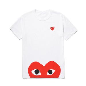 Moda mens designer de t-shirts C-D-G jogo tee commes des garcons algodão Imprimir vermelho Coração t-shirt das mulheres dos homens casuais T-shirt brancas dolce