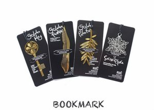 4 Styles Creative Golden bookmarks with card Metal book mark Elegant Paper Clip Leaf key shape markers lovely reading helper bookmark