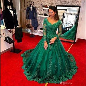 Vestido de fiesta 2019 Yeni Arapça Mütevazı Yeşil Balo Abiye V Yaka Sheer Uzun Kollu Robe De Soiree Örgün Balo Elbise