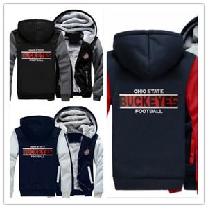 Winter Hoody Ohio State Rosskastanien Fußball Team Team Männer Frauen warme Hoodies Herbst Kleidung Sweatshirts Reißverschluss Jacke Fleece Hoodie Streetwear