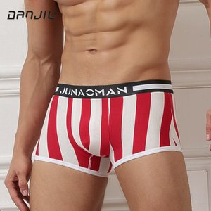 DANJIU Men's Fashion Underwear Low Waist Man Stripe Boxer Shorts Cotton U Convex Breathable Underpants Masculinas Calzoncillos