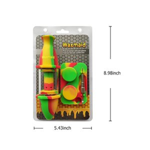 Waxmaid glass Nectar Collector Kit Silicone Bong Glass Oil Burner with Titanium Nail six colors for choosing
