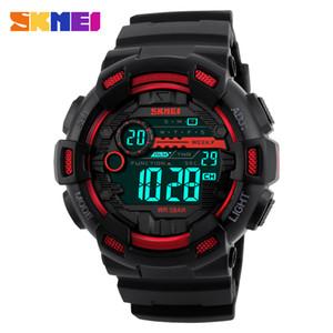 SKMEI Outdoor Sport Montre Homme multifonction 5bar affichage LED PU bracelet étanche Montres Chrono Montre numérique reloj hombre 1243