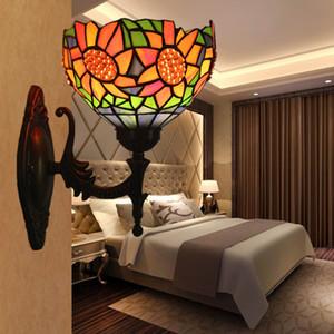Vitral Único LED arandela lâmpada acende Wandlamp Quarto do casamento do girassol Quarto decorativa Wall Lights Home Lighting