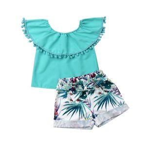 Yeni Stil Bebek Kız Çocuk İlkbahar Yaz Toddler Kıyafetler Giysi T-shirt Tops + Şort Sevimli Giysi Set 1-4Years