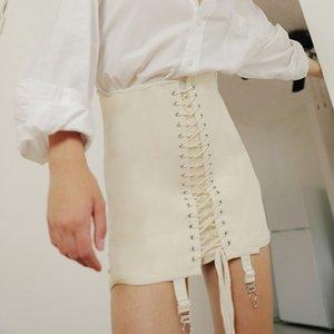 Le Cool Femmes Bracelet Trou Ceinturon Lace Up Slim Jupe