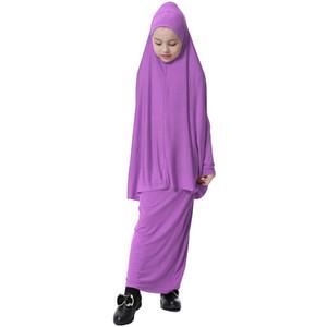 Müslüman Çocuk Kız Namaz Uzun Elbise + Hicap İslami Jilbab Büyük Asma Giyim