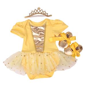 Yenidoğan Bebek Kız Elbise Kafa Ayakkabı Set Infantil Çocuk giyim Setleri Kızlar Tutu Çocuklar Yaz Kısa Kollu Vestido MX190719 Giymek