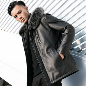 Genuine Men Duck Sheepskin Down Winter Coat Mens Leather Jacket Chaqueta Cuero Hombre YY972