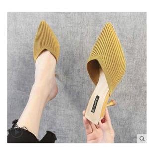 Net Haki tembel Baotou yarım terlik kadınlar 2019 yaz yeni örgü stiletto seksi sonbahar yüksek topuk sandalet sivri giymek