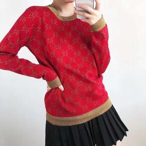 2020 neue Wolle und Gold-Jacquard mit langen Ärmeln Rundhals europäische Mode-Monogramm Stricke Pullover im gleichen Stil