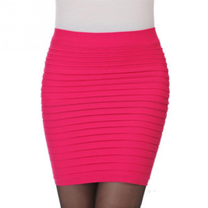 Women Mini Pencil Skirts Package Hip Skirt Ladies Office High Waist Pleated Elastic Short Candy Colors Skirts #2