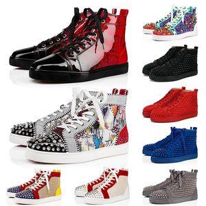 Top Quality couro genuíno Womens Mens Red Bottoms Pico sapatos de luxo Designer Partido Plataforma Amor calçados casuais camurça Graffiti Sneakers