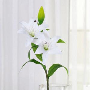Vivid Simulation plastique artificielle longue Lily fleur avec Bud 75cm Home Décor Bureau