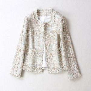 Herbst-Winter Classic Tassel Frauen-Jacken-Mode Tweed Kurzschluss-Mantel-Frauen beiläufige lose große Oberbekleidung