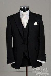 Yeni Custom Made Bir Düğme Siyah Damat smokin Tepe Yaka Sağdıç Groomsmen Erkekler Düğün Damat (ceket + pantolon + Kravat + Vest) Suits 4049