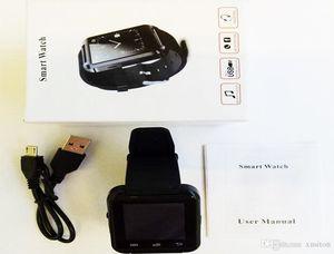 U8 بلوتوث ساعة ذكية ساعات المعصم شاشة تعمل باللمس لفون سامسونج الروبوت الهاتف النوم مراقب ساعة ذكية 50 حزم V9 V8