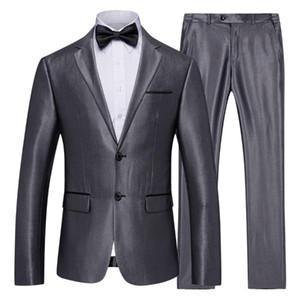 Erkek Takımları İki Düğme Slim Fit 2 adet Suit Blazers Ceket Pantolon Seti İş Örgün Suit Erkek Damat Düğün Suit
