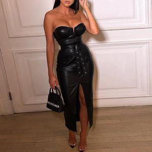 Sexy Strapless Bodycon PU Leather Mulheres vestido de Split Rivet Gota drapeado Vestido Club Party Wear Feminino Vestidos T200707