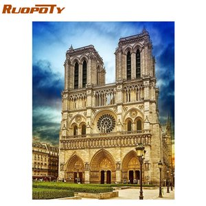 RUOPOTY Frame Notre Dame De Paris DIY Painting By Numbers Landscape Coloring By Numbers Kit Wall Art Picture Home Decor Artworks