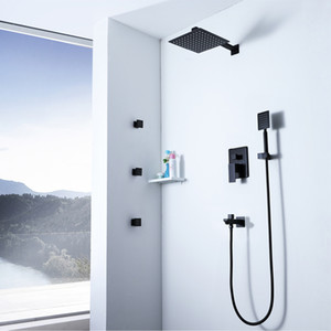 Ultra-thin Rainfall Black Shower Head Hot and Cold Brass Shower Faucets Embedded Box With Shower Body Jets Massage