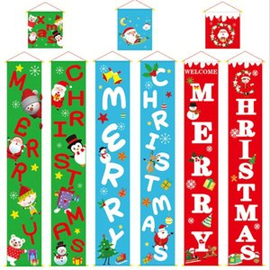 Colorful Christmas Fabric Couplets Door Wall Hanging Sign For Outdoor Garden Merry Christmas Decoration Banner Wall Pendants LXL634A
