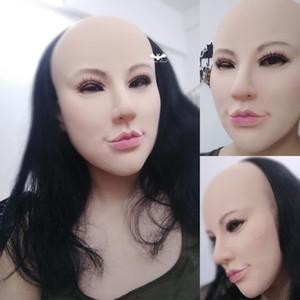 New Hot Venda Realistic Pele Humana Disguise auto máscaras de Halloween látex realista silicone máscara protetor solar elástica máscara verdadeira feminina Crossdress