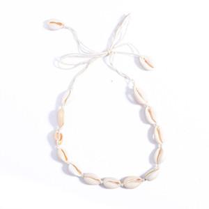 Bohemio collar de borla de playa Natural Sea Shell gargantilla collar de cadena collar Boho mujeres joyería de playa de verano