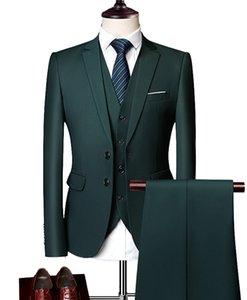 Mens Suits Grey Blue White 3 Pieces Slim Fit Suit Mens Business Groom Jacket Tuxedos for Wedding Prom Evening(Blazer+Vest+Pants)
