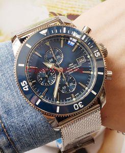 Горячий продавать Высокое качество Наручные часы большой размер 46mm кожа Bands A1331212 VK Кварцевый хронограф Рабочая Mens ремешок Часы