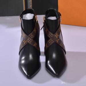 Matchmake Ankle Boots Designer de Moda Botas de Salto Alto Genuíno Couro Monogram Canvas Cross Straps Apontou Toes Senhoras Botas de Moda
