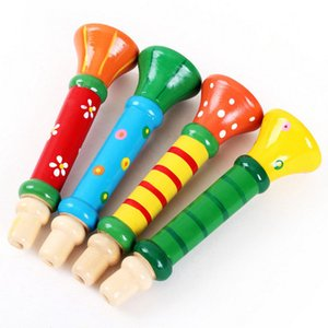 Wooden children's trumpet toy children's cartoon small whistle wooden blowing whistle musical instrument infant early education toy