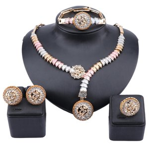Dubai Gold Crystal Jewelry Women African Beads Set Nigerian Bridal Wedding Accessories Necklace Earring Jewelry Sets