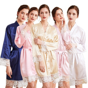 Silk Satin Short Robe Solid Robe Kimono Sexy Lace Trim Bathrobe Sleepwear Bride Bridesmaid Fashion Dressing Gown