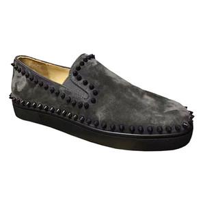 Мужские Мокасины Квартиры Марка Designs Red Bottom Шипастое лодка обувь, Ленивый нескользкую на вскользь ботинок Pik Boat Flats, Черный Синий Серый