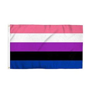 Queer Gay Pride Flag 3x5ft 150x90cm Печать Полиэстер Gay Flag Клуб Командные виды спорта Крытый Открытый с 2 латунными креплениями, Бесплатная доставка