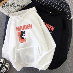 Shellsuning Harf Sonbahar Yeni Kazak Harajuku 2019 Moda Kadın Kazak Streetwear Mor Boy Kapüşonlular Tops
