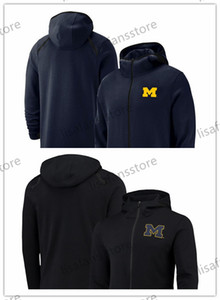 Мичиган росомахи фуфайки 2018-2019 On-Корт Баскетболист Showtime Sideline Performance Full-Zip Hoodie Mens College Sports Hoodi
