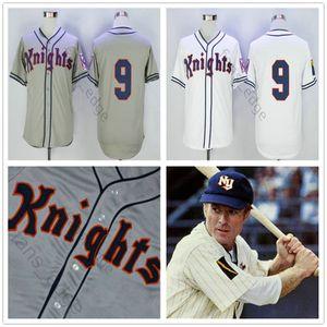 Film NewYork Cavalieri 1939 Maglia The Natural # 9 Roy Hobbs Baseball Maglia Bianco Grigio con cuciture doppie Shirt Size S-XXXL
