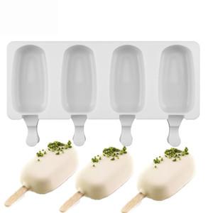 4 Delik Silikon Dondurma Kalıp ile 10sticks Popsicle Tatsız Buz Lolly Silikon Kalıp Beyaz Renk