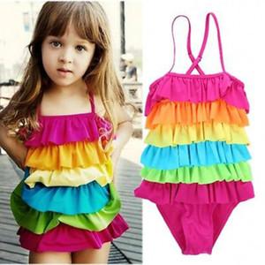 2020 muchachas de los cabritos del arco iris Muchachas del bikini traje de baño de la playa del verano en capas Natación traje de baño traje de baño Niñas