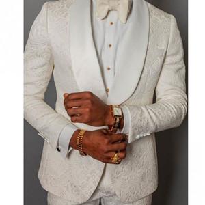 Nach Maß Mann-Klagen Elfenbein-Muster-Bräutigam-Smoking mit Schal Satin Revers Groomsmen Hochzeit Best Man 2 Stück (Jacket + Pants + Tie) L476