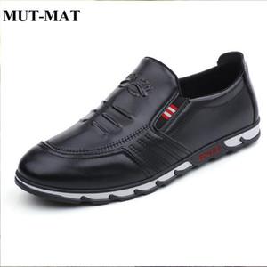 MUT-MAT 2019 Nuevos hombres de negocios Casual Perezoso Calzado con una pierna de hombre Zapatillas de deporte de cuero transpirables Otoño