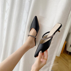 Crystal Slipper for Women Pointed Toe Mules Fashion Spike Heels Shallow Slides Slip on Pump Luxury Heel Shoes Sandals Size 34-40