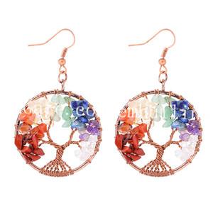 10 Pair Hayat Ağacı Küpe Gökkuşağı Taş Bakır Tel Ağacı Küpe Çok Renkli Boncuklu 7 Çakra Reiki Dangle Küpe Anneler Günü Hediyesi