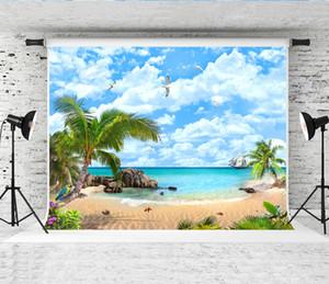 Sonho 7x5ft Tropical Island Seaview Fotografia Cenário Praia Céu Paisagem Fotografar Fundo para Fotógrafo Photo Booth Studio Prop