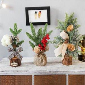 25CM Mini Christmas Tree Twig Cotton Bow Christmas Ornaments Shopping Mall and Supermarket Window Decoration Navidad