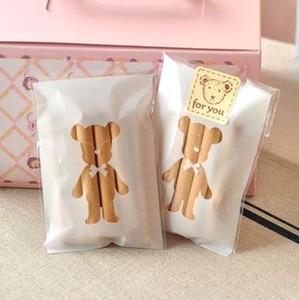 7 × + 3cm 화이트 베어 베이커리 쿠키 캔디 달콤한 비스킷 선물 비누 호의 첼로 자체 접착 OPP 플라스틱 가방 베이비 샤워