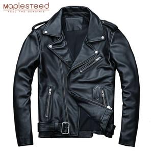 MAPLESTEED classique Motocycle Vestes homme Veste en cuir 100% veau naturel peau épaisse Moto Veste Homme Manteau d'hiver cycliste M192 MX191118