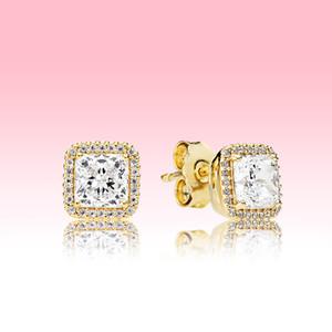 Juego de aretes de boda de plata 925 Real Diseñador de lujo Joyería chapada en oro amarillo para Pandora Square Sparkle Stud Pendientes con caja original